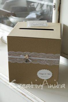 Briefbox *VINTAGE* Hochzeit Spitze m.Namen+Datum