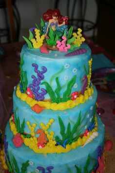 Little mermaid cake for Kenzie's 1st bday party