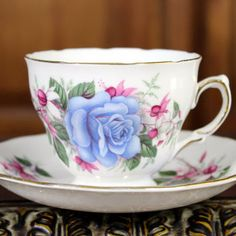 Blue Rose Royal Vale Vintage Teacup - Tea Cup and Saucer
