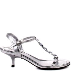 Don't sacrifice comfort for you next event, this small heeled sandal from Unlisted is right for you!  Kind Care MP brings you a strappy silver sandal with glamorous gems, adjustable strap and a 2 1/2 inch heel.