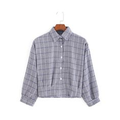 SheIn(sheinside) Grey Lapel Plaid Crop Blouse ($9.99) ❤ liked on Polyvore featuring tops, blouses, grey, long sleeve crop top, long sleeve tops, collared crop top, gray blouse and button blouse