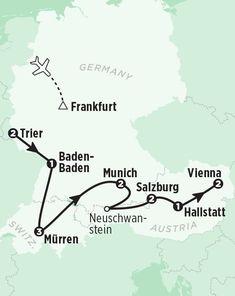 Tour Germany, Austria & Switzerland in 14 Days Switzerland Destinations, Map Of Switzerland, Switzerland Itinerary, Switzerland Vacation, Austria Map, Austria Travel, Germany Travel, Road Trip Map, Road Trip Europe
