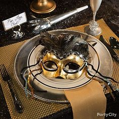 Choose a mask in your party's color theme to lay out on guests plates as an elegant place-setting!
