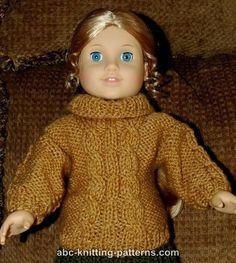 American Girl Doll Cable Aran Sweater