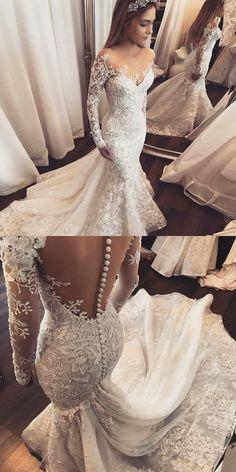 Mermaid Wedding Dresses,Illusion Wedding Dresses,Long Sleeves Wedding Dresses,Appliques Wedding Dresses,Wedding Dresses 2017