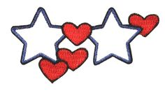 ID #1055 White Star Red Heart Valentine Love Embroidered Iron On Applique Patch