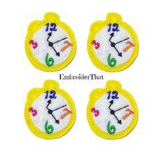 UNCUT Pocket watch felt applique embellishment by EmbroiderThat