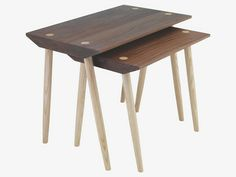 PERRI NATURAL Wood Nest of 2 side tables - HabitatUK
