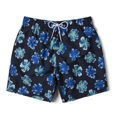 Abstract Floral Flowers Jungle Camouflage Solid Color Slim Fit Side Split Swim Shorts