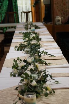 love the ivy runner - looks great on a banquet style - brings fresh greenery, this mixed with cream flowers will look beautiful