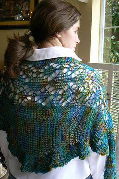 Loom Knit shawl -Diamonds in the Ruff(les) by Renee Van Hoy. This is my next project to cast on.