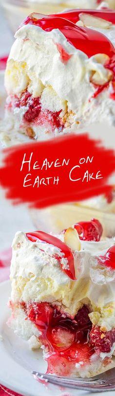 Heaven on Earth Cake Heaven on Earth Cake Recipes Today recipestodayme Cake Ingredients 1 box Angel food cake or 1 prepared Angel Food Cake nbsp hellip Cupcake from box Mango Pudding, Oreo Pudding, Easy Desserts, Delicious Desserts, Dessert Recipes, Party Recipes, Cupcake Recipes, Drink Recipes, Healthy Recipes