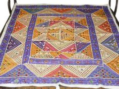 White Banjara Vintage Bedspread Mirror Embroidery Cotton Patchwork Tapestry | eBay Vintage Bedspread, Bed Spreads, Bohemian Rug, Tapestry, Quilts, Embroidery, Blanket, Mirror, Rugs