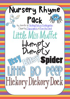 Nursery Rhyme Pack! Each nursery rhyme has a full page color poster and a 4-5 page blackline reader that students can color. Includes 9 popular rhymes.
