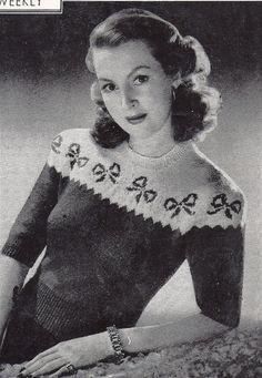 332f06ed0de6f 40s romance- chic bows- fair isle sweater- b36 b38- glamorous 40s style-  Australian knitting pattern- epattern PDF