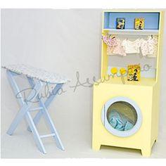 Kit mini lavanderia para seus filhos se divertirem brincando de casinha. Brinquedos de casinha na cor de sua preferência, só aqui no Mamãe Achei!