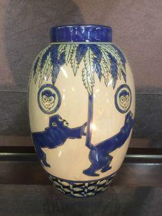 Vase EN Ceramique Emaillé DE Style ART Deco Signé Numeroté Decor Singes | eBay