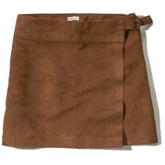 Hollister Wrap-Front Vegan Suede Mini Skirt (260.670 IDR) ❤ liked on Polyvore featuring skirts, mini skirts, brown, vegan leather mini skirt, wrap front skirt, retro skirts, brown skirt and fake leather skirt