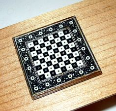Tudor Chess Board Medieval Dollhouse Miniature by CalicoJewels