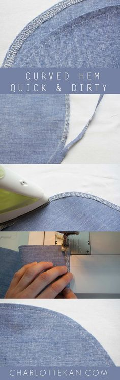 RIFINIRE ORLI CURVI How to sew a curved hem? I've made a few videos explaining different techniques for sewing around curves Sew a curved hem using a stitched guideline Diy Sewing Projects, Sewing Projects For Beginners, Sewing Hacks, Sewing Tutorials, Sewing Crafts, Sewing Patterns, Sewing Tips, Sewing Blogs, Clothes Patterns