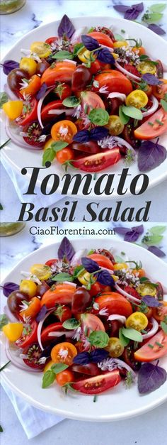 Tomato Basil Salad with a Chive Vinaigrette | Posted By: DebbieNet.com