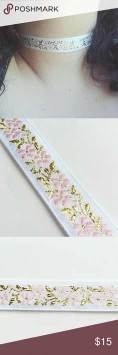 """Memories Pink Rose Ribbon Choker 30% OFF ALL BUNDLES PRICE IS FIRM  HANDMADE white ribbon choker with pink rose embroidery. 12"""" - 14"""" in length. Jewelry Necklaces"""