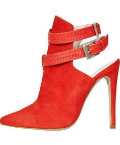 Coral Red Suede Braided Bootie - Plomo
