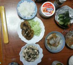 10月1日(月)  うすかつ 豆腐とひじきの炒め物 里芋と竹輪 キムチ