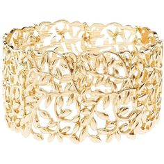 Charlotte Russe Gold Filigree Leaves Stretch Cuff Bracelet by... (285 PHP) ❤ liked on Polyvore featuring jewelry, bracelets, gold, gold leaf jewelry, gold bangles, stretch cuff bracelet, cuff bangle and yellow gold bangle