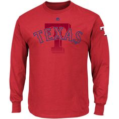 Texas Rangers Majestic Big & Tall Two Hit Long Sleeve T-Shirt - Red