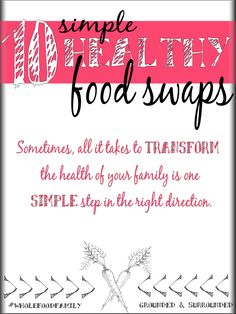 One concept that has truly helped us get healthy is learning to SWAP-UP our food. SWAP-UP processed food for whole foods or clean eating foods. Here are our 10 favorite SIMPLE food swap ideas for a healthier family. If you are wanting weight loss or starting a low carb diet these tips will definitely get your health back on track. It's time to clean up your diet without complicating your life! Who's with us?! http://www.groundedandsurrounded.com/10-simple-food-swaps/