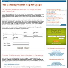 Free Genealogy Search Help for Google: 'http://www.genealogy-search-help.com/'…