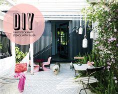 Poppytalk: DIY: Paint + Stencil a Deck- genius!!!