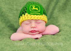 Crochet Baby John Deere Beanie Hat Newborn thru 6 by ThePoseyPatch, $22.00