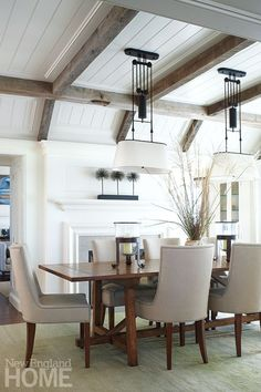 Inspired By Wood Beam Plank Ceiling Design Nice Ceiling Detail Coffered Ceiling Gray Rustic Wood Beams Dining Room With Fireplace Coffered Ceiling Dining Room, Family Room Design, Wood Plank Ceiling, Ceiling Design, Rustic Living Room, Living Room Ceiling, Dining Room Fireplace, Rustic Dining Room, House And Home Magazine