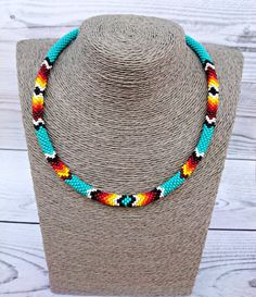 Thin Native American Indian Inspired beaded choker necklace, Turquoise seed bead rope necklace, Tribal ethnic beadwork unisex jewelry *********************************************************** Dear c Beaded Choker Necklace, Rope Necklace, Seed Bead Necklace, Seed Bead Jewelry, Seed Beads, Rope Jewelry, Jewellery, Bead Crochet Rope, Beaded Crochet