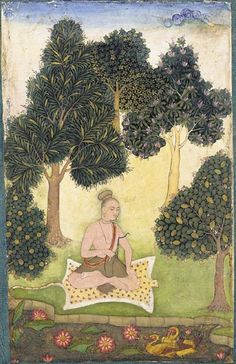 A yogi seated in a garden, North Indian or Deccani miniature painting, c.1620-40
