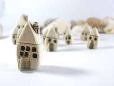 Rustic Beach cottage A tiny house miniature ceramic by orlydesign