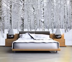 Bedroom - Birch tree forest in winter mural, repositionable peel & stick wall paper, wall covering Birch Tree Wallpaper, Forest Wallpaper, Cama King, Bedroom Decor, Wall Decor, Bedroom Ideas, Wicker Furniture, My New Room, Backgrounds