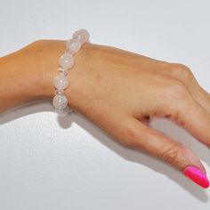 White with a hint of pink bracelet with clear by vidalinadelcarmen, $25.00