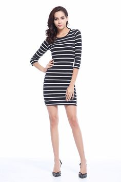 cc8262104d Fashion White Striped Dress Long Sleeve Casual Dress New Spring Summer Women  Round Neck Fashion Black and White Striped Dress Long Sleeve Straight Plus  Size ...