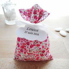 Ballotin mariage & baptême - tissu liberty phoebe rose - ruban satin blanc