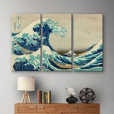 Shop for Katsushika Hokusai 'The Great Wave Off Kanagawa' 3-piece Gallery-wrapped Canvas. Get free delivery at Overstock.com - Your Online Art Gallery Store! Get 5% in rewards with Club O! - 17072952