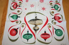 Mid Century DeAntonio Shiny Brites Christmas tablecloth