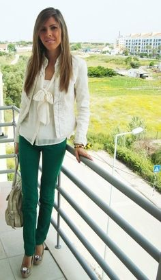 Channel Jacket & Pussy Bow Blouse  - Love the coloured trousers.