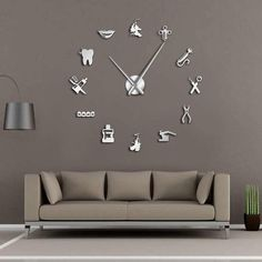 Dental Pattern Decorative Large Wall Clock for Ultimate Dentist Office Decor - Tooth Decay Dental Art, Dental Office Design, Design Offices, Modern Offices, Office Designs, Giant Wall Clock, Wall Clocks, Dental Office Decor, Medical Office Interior