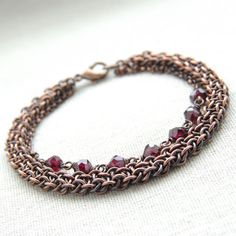 #chainmaille  Gift / Red garnet #bracelet / Antiqued copper by Verha, $49.00