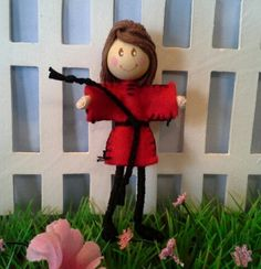 Red dress Anna Bendy Doll with brunette hair via Etsy