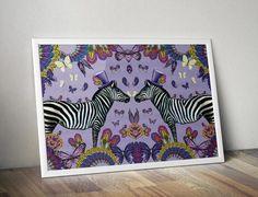 A3 zebra print - zèbres décalé - zèbre art print - illustrations animaux - art papillon - animal artiste - oiseau art print - FREE SHIPPING UK