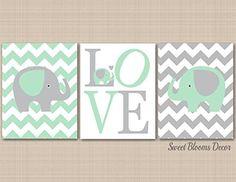 Mint Gray Elephant Nursery Wall Art, Elephant Nursery Wall Art, Elephant Wall Art,Chevron Elephant Nursery Décor,Elephant Baby Gift,Nursery Decor- UNFRAMED set of 3 PRINTS (NOT CANVAS) C141